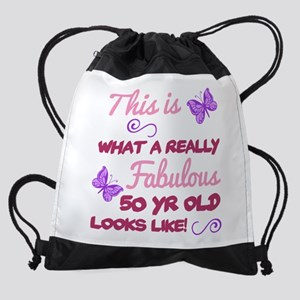 Fabulous 50th Birthday Drawstring Bag
