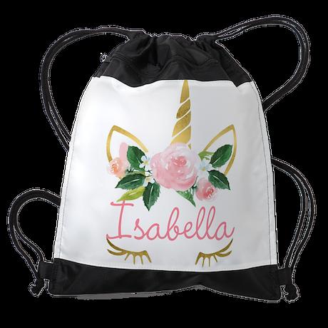 sleeping unicorn personalize Drawstring Bag