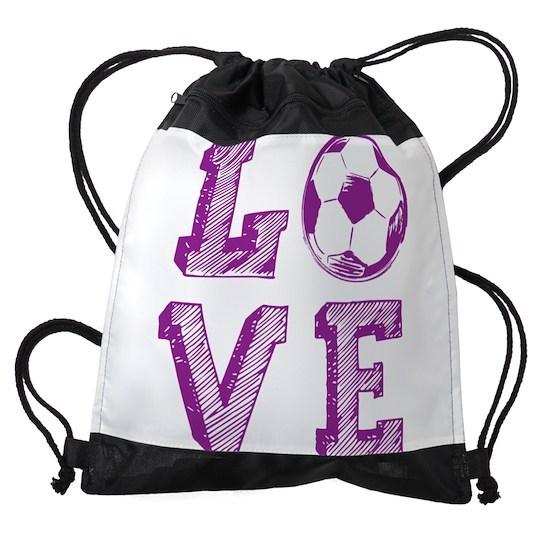 Y Love Soccer Drawstring Bag