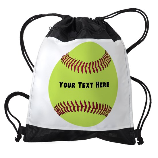 Customize Softball Name Drawstring Bag