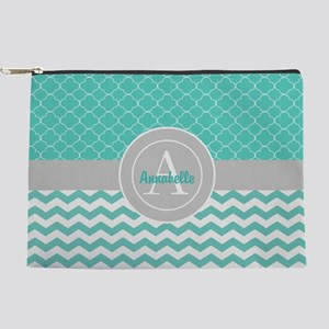 Teal Gray Chevron Quatrefoil Makeup Pouch