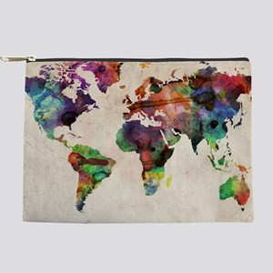World Map Urban Watercolor 14x10 Makeup Pouch