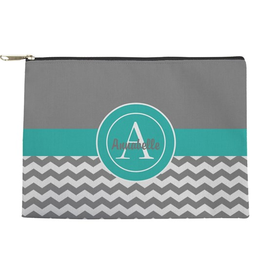 Gray Teal Chevron