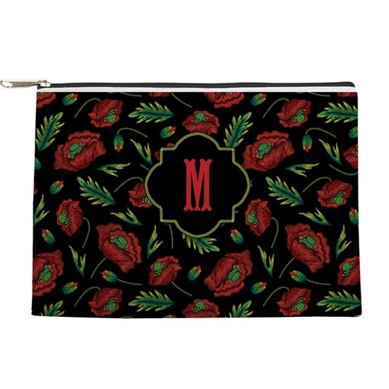 MONOGRAM Red Floral Faux Stitch