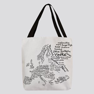 Food Map of Europe Polyester Tote Bag