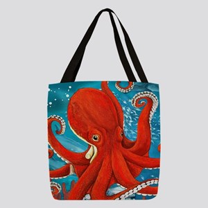 Octopus Painting Polyester Tote Bag