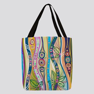 Colorful Flourish Polyester Tote Bag