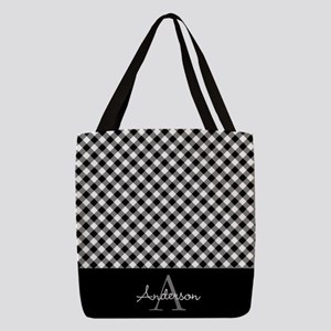 Black and Gray Squares Polyester Tote Bag
