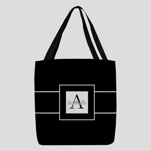 Black White Monogram Personalized Polyester Tote B