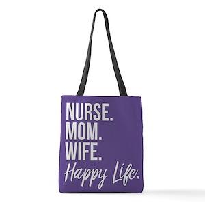 Nurse Mom Wife Hy Life Polyester Tote Bag