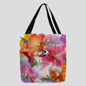 Hibiscus Butterflies Polyester Tote Bag