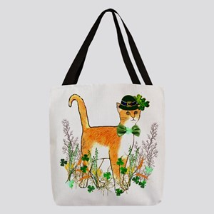 St. Patrick's Day Cat Polyester Tote Bag