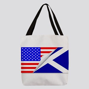 United States and Scotland Flag Polyester Tote Bag