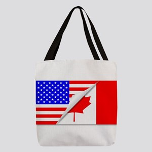 United States and Canada Flags Polyester Tote Bag
