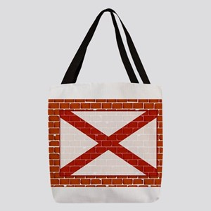 Brick Wall With Flag of Alabama Polyester Tote Bag