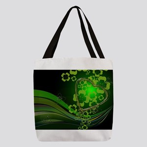 Heart And Shamrocks Polyester Tote Bag