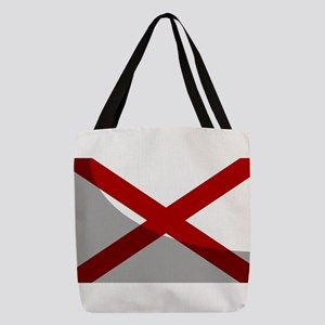 Alabama Sate Flag With Shadow Polyester Tote Bag