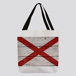 Alabama State Flag On Old Timbe Polyester Tote Bag