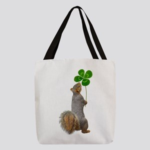 Squirrel 4 Leaf Clover Polyester Tote Bag