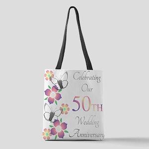Elegant 50th Anniversary Polyester Tote Bag