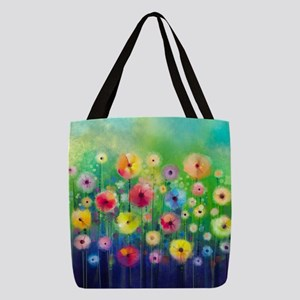 Watercolor Flowers Polyester Tote Bag