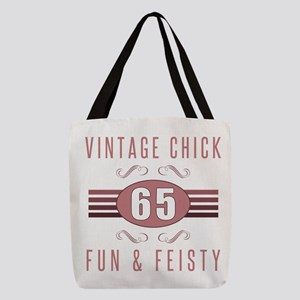 65th Birthday Vintage Chick Polyester Tote Bag