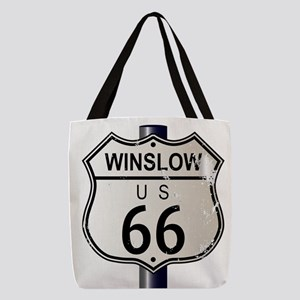 Winslow Route 66 Sign Polyester Tote Bag