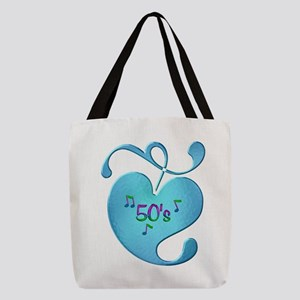 50s Music Love Polyester Tote Bag