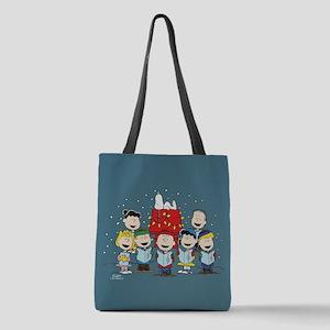 Peanuts Gang Christmas Polyester Tote Bag