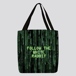 Follow the White Rabbit Polyester Tote Bag