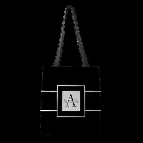Black White Monogram Personalized Polyester Tote B