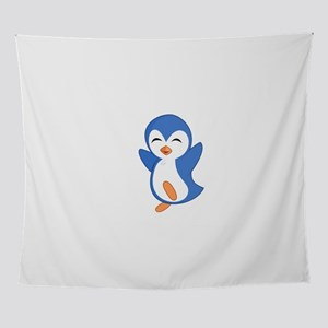 Happy Blue Baby Penguin Wall Tapestry