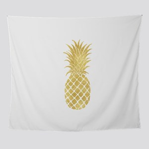 Gold Glitzy Pineapple Wall Tapestry