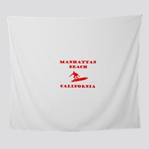 ManhattanBeachSurfer1-RED Wall Tapestry