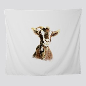 Watercolor Goat Farm Animal Wall Tapestry