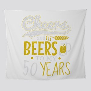 Cheers and Beers 50th Birthday Gift Wall Tapestry