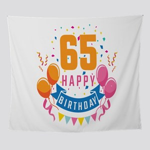 65th Birthday Balloon Banner Confett Wall Tapestry