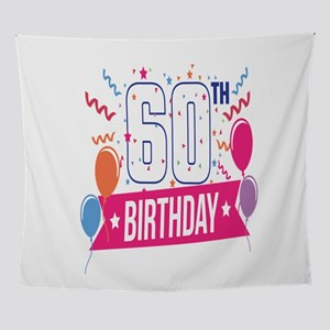 60th Birthday Party Balloons Banner Wall Tapestry
