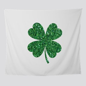 Green Glitter Shamrock st. particks Wall Tapestry