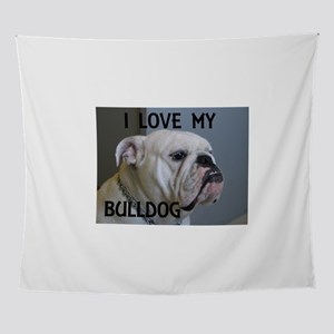 bulldog picture with love white Wall Tapestry