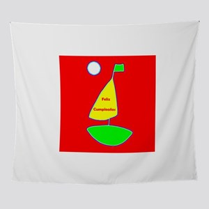 Red Happy Birthday Spanish Sailing 4 Wall Tapestry