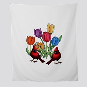 Tulips and Cardinals Wall Tapestry