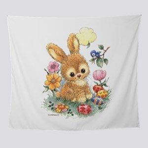 Cute Easter Bunny with Flowers and Eggs Wall Tapes
