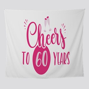 60th Birthday Cheers Chic Pink Gift Wall Tapestry