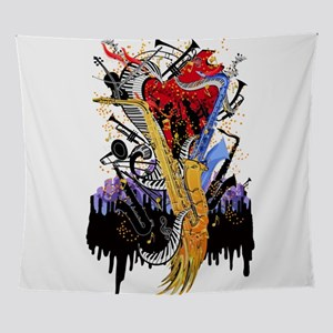 Musical Instruments Sax Piano City M Wall Tapestry