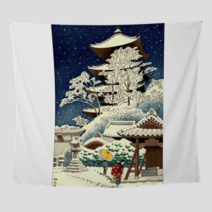 Cool Japanese Oriental Snow Winter Wall Tapestry