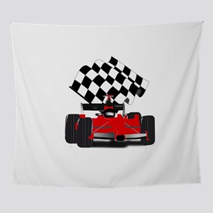 Red Race Car with Checkered Flag Wall Tapestry