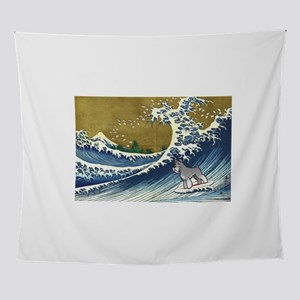 Schnauzer Surfing Wall Tapestry