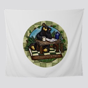 Coffee Drinking Bear Wall Tapestry