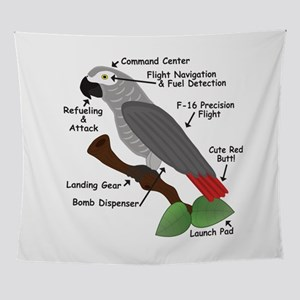 Anatomy of an African Grey Parrot Wall Tapestry